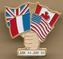 """Pin's """"juin 44 - Juin 94"""" D-DAY Débarquement Normandie Overlord Drapeaux Britannique Français états-unien Canadien - Administración"""