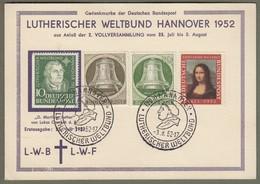 """Bund + Berlin: Sonderkarte, Mi.-Nr. 148 Mona Lisa, 149 Martin Luther , B. 82-83 Glocke: """" Lutherischer Weltbund """"  X - Used Stamps"""