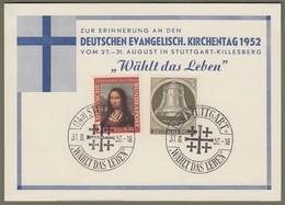 "Bund + Berlin: Sonderkarte, Mi.-Nr. 148 Mona Lisa, U. Berlin 82 Glocke Re.: "" Evangelischer Kirchentag 1952 ""  X - BRD"