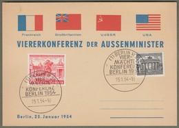 """Berlin: Sonderkarte Gedenkkarte Mi.-Nr. 42 U. 116 ESST: """" Vier-Mächte-Konferenz Berlin 1954, Außenminister """" !    X - Usati"""