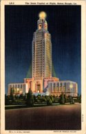 Louisiana Baton Rouge The State Capitol At Night 1943 Curteich - Baton Rouge