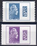2018-19 / N° 1603A + 1656 Les 2t De Carnets Marianne L'engagée-20g Europe Bleu+L'international Violet / NEUF.... - 2018-... Marianne L'Engagée