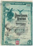 ACTION - Banque Centrale Mexique. Banco Central Mexico Acciones Série A 02 Janvier 1908 De 100 Dollars - Banque & Assurance
