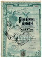 ACTION - Banque Centrale Mexique. Banco Central Mexico Acciones Série A 15 Octobre 1905 De 100 Dollars - Banque & Assurance