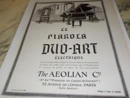 ANCIENNE PUBLICITE PIANOLA  DUO ART THE AEOLIAN COMPAGNY  1924 - Música & Instrumentos