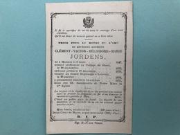 Jordens Clement *1847 Mechelen College Gheel Geel Priester Groot Begijnhof Leuven +1875 Leven Louvain Begijnhofpriester - Esquela