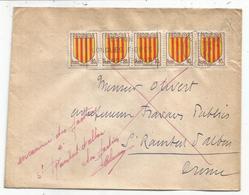 BLASON 80C ROUSSILLON BANDE DE 5 LETTRE ST ETIENNE RP 15.10.1956 POUR LA DROME RETOUR ENVOYEUR 3830 - 1941-66 Coat Of Arms And Heraldry