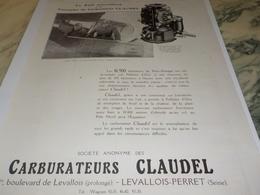 ANCIENNE PUBLICITE TRIOMPHE CARBURATEUR CLAUDEL 1924 - Transportation