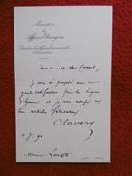 LETTRE AUTOGRAPHE PAUL CLAVERY Proposition Legion D Honneur 1890 - Handtekening