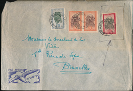 BELGIAN CONGO 100 F MASK ON LARGE COVER FROM E/VILLE 01.09.52 TO BRUSSELS - Belgisch-Kongo