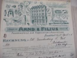 Facture Illustrée Arnd Filius 1916 Fahrradteile Zur Fabrikation Ausstattung - Allemagne