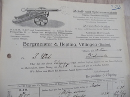Facture Illustrée Villingen 1915 Metall Spielwarenfabrik Bergmeister Hepting Canon - Allemagne