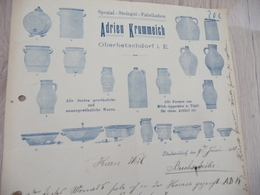 Facture Illustrée Oberbetschdorf Spezial Steigut Fabrikation 1915 - Allemagne