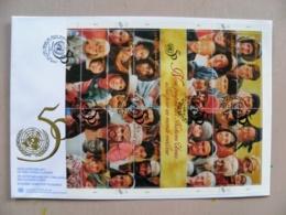 Fdc Cover UN United Nations Geneve Switzerland 1995 50th Ann. Sheetlet People 18x26cm - Genf - Büro Der Vereinten Nationen