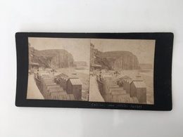 Fin 19 E Siècle 1888 Photo Carte Stéréoscopique Saint-Martin Aux BUNEAUX Cabines Plage Aux Petites Dalles Côte D'Albâtre - Dieppe