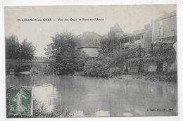 PLAISANCE DU GERS EN 1908 - VUE DES QUAIS ET PONT SUR L' ARROS - CPA  VOYAGEE - France