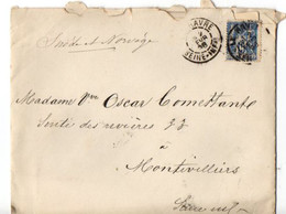 B7   02 02 1888 Lettre Le HAVRE MONTVILLIERS - 1876-1898 Sage (Type II)