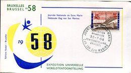 14158147 Belgium 19580730 Bx Expo58; Journée De St-Marin; Pli - 1958 – Brussels (Belgium)