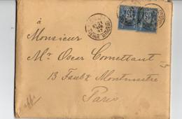 B7   21 02 1887 Lettre Paris Au Dos Cachet Légation Suede Et Norvege à Paris - 1876-1898 Sage (Tipo II)