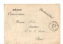 B7   20 03 1922  Lettre  Franchise Senat Pour Un Sénateur Convocation A La Commission De La Marine - Seepost