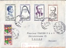 TP N° 1288/1289/1290/1291/1230Ax2 SUR LETTRE REC. DE AMIENS RP/6.6.61 POUR LA SUISSE - Marcophilie (Lettres)
