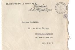 B7   09 04 1963 Présidence De La République Lettre/courrier Réponse Du Cabinet Particulier De De Gaulle - Marcophilie (Lettres)