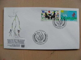 Fdc Cover UN United Nations Geneve Switzerland 1991 Rights Of The Child Children - Genf - Büro Der Vereinten Nationen