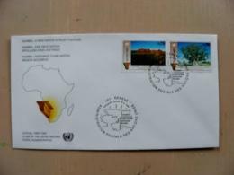 Fdc Cover UN United Nations Geneve Switzerland 1991 Map Africa Namibia Tree Mountains - Genf - Büro Der Vereinten Nationen