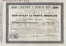 T.F De Dimension N°106 Sur Certificat De Parts Sociales Crédit Carmausin..Carmaux (Tarn) 1934 - Fiscaux