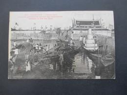 Kambodscha Cambodge 1910 AK Phnom Penh Drachen Figur Auf Einem Boot Stempel Tonkin Nach Nürnberg Gesendet - Cambodia