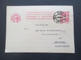 Lettland 1929 Ganzsache Stempel Riga Latvija Nach Kötzing In Niederbayern - Latvia