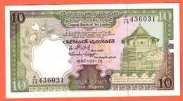 SRI LANKA  Billet  10 Rupees  01 01 1987  Pick 96 - Sri Lanka
