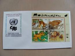 Fdc Cover UN United Nations Geneve Switzerland 1995 Animals Fauna Monkeys Bird Owl Frog Bison - Genf - Büro Der Vereinten Nationen