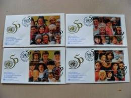 4 Fdc Cover UN United Nations Geneve Switzerland 1995 People - Genf - Büro Der Vereinten Nationen