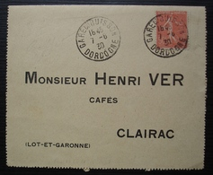 Gare Du Buisson (Dordogne) 1930 Sur Carte Réponse Pour Clairac (Lot Et Garonne) Cafés Henri Ver - Postmark Collection (Covers)
