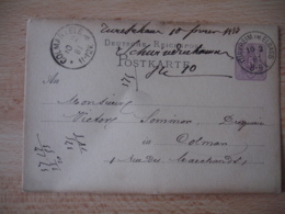 1881 Turkheim Im Elsass  Obliteration Occupation Allemande Sur Entier Postal - Postmark Collection (Covers)