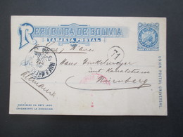 Bolivien 1904 Ganzsache Nach Nürnberg Aus Dem Bedarf - Bolivia