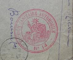 Section Sanitaire Automobile N°14 Dormans (Marne) 1914 Cachet Rouge Sur Enveloppe Pour Castres - Postmark Collection (Covers)