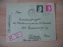 Occupation Alsace Guerre 39.45 Recommande Moosch Kr Thann Els  2 Timbre Hitler - Marcofilie (Brieven)
