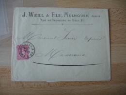 1879 Mulhausen Els Obliteration Sur Enveloppe Commerciale Weill Et Fils Mulhouse - Postmark Collection (Covers)
