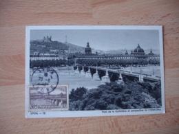 1943 Pont De La Guillotiere Lyon Cm Carte Maximum - 1940-49