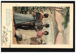 AK Paar Mit Tochter In Neapel, Gedicht: Neapel Seh'n Und Sterben ..., 29.3.1902 - Belle-Arti