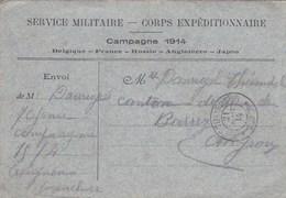 WWI CARTE  FRANCHISE SERVICE MILITAIRE  CORPS EXPÉDITIONNAIRE CAMPAGNE 1914 - Marcophilie (Lettres)