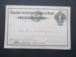 Brasilien 1919 Ganzsache Porto Alegre Nach Nürnberg Via Rotterdam (Schiffspost) - Cartas