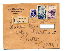 Lettre Recommandée Paris 123 Sur Nice Rugby - Marcophilie (Lettres)
