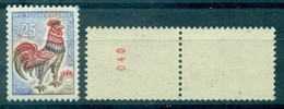 FRANCE N° 1331 B Coq 25 C De Roulette Avec N° 040 Neuf Xx Cote 80.00 € Tb. - Abarten: 1960-69 Ungebraucht