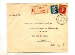 Lettre Recommandée Paris 44 Sur Pasteur Semeuse - Poststempel (Briefe)