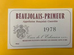 13927 - Beaujolais Primeur 1978  Cave De L'Echanson - Beaujolais