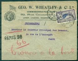FRANCE Env REC Illustrée G.W.W.C.affr 60 C Merson Ob Paris 29.12.1920 Pour Les Douanes + Trouvée à La Boite En Rouge. - Marcophilie (Lettres)