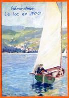 88 GERARDMER Le Lac En 1900 Voilier Dessin Carte Vierge TBE - Gerardmer